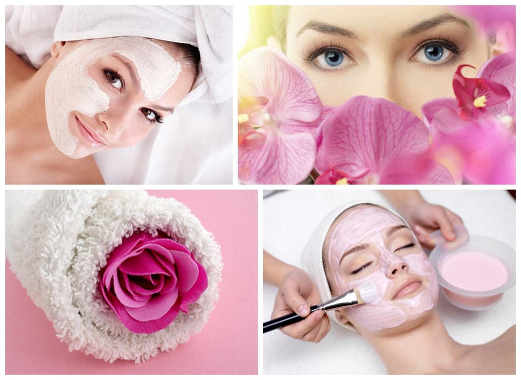 Kobiety z kwiatami i nałożonymi maseczkami kosmetycznymi, slóra wrażliwa