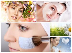 Kolorowe kwiaty i kobiety z maseczkami kosmetycznymi
