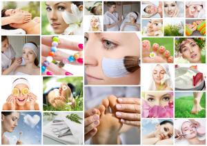 Różnokolorowe fotki przedstawiające zabiegi kosmetyczne
