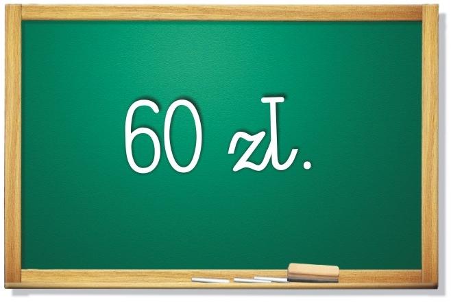 tablica z napisem 60zł